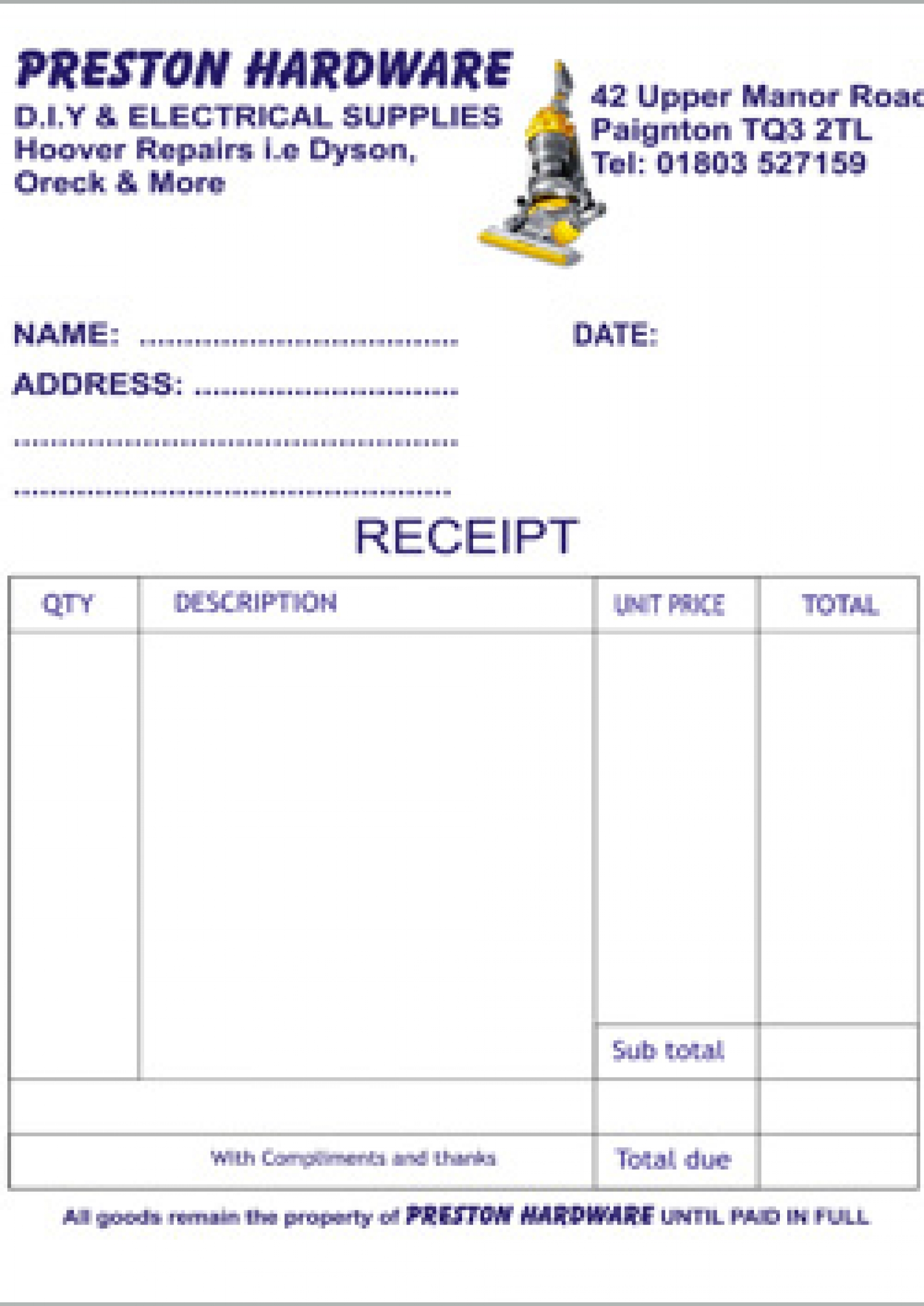 manor print shop invoice pads